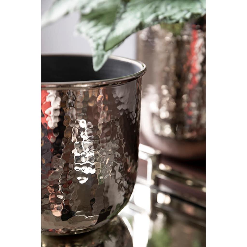 Fink Übertopf »INES, silberfarben«, (1 St.), dekorativer Blumentopf, aus Metall, in verschiedenen Größen erhältlich, Wohnzimmer