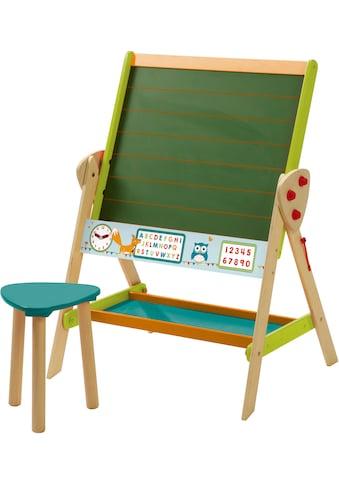 roba® Standtafel »ABC Eule«, zweiseitig, mit weißer Magnetseite und Hocker kaufen