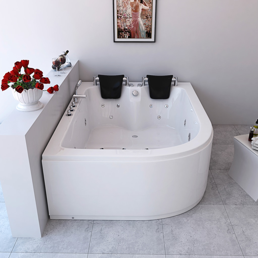 HOME DELUXE Whirlpool-Badewanne »Ancona XL«, B/T/H in cm: 180/120/65, links