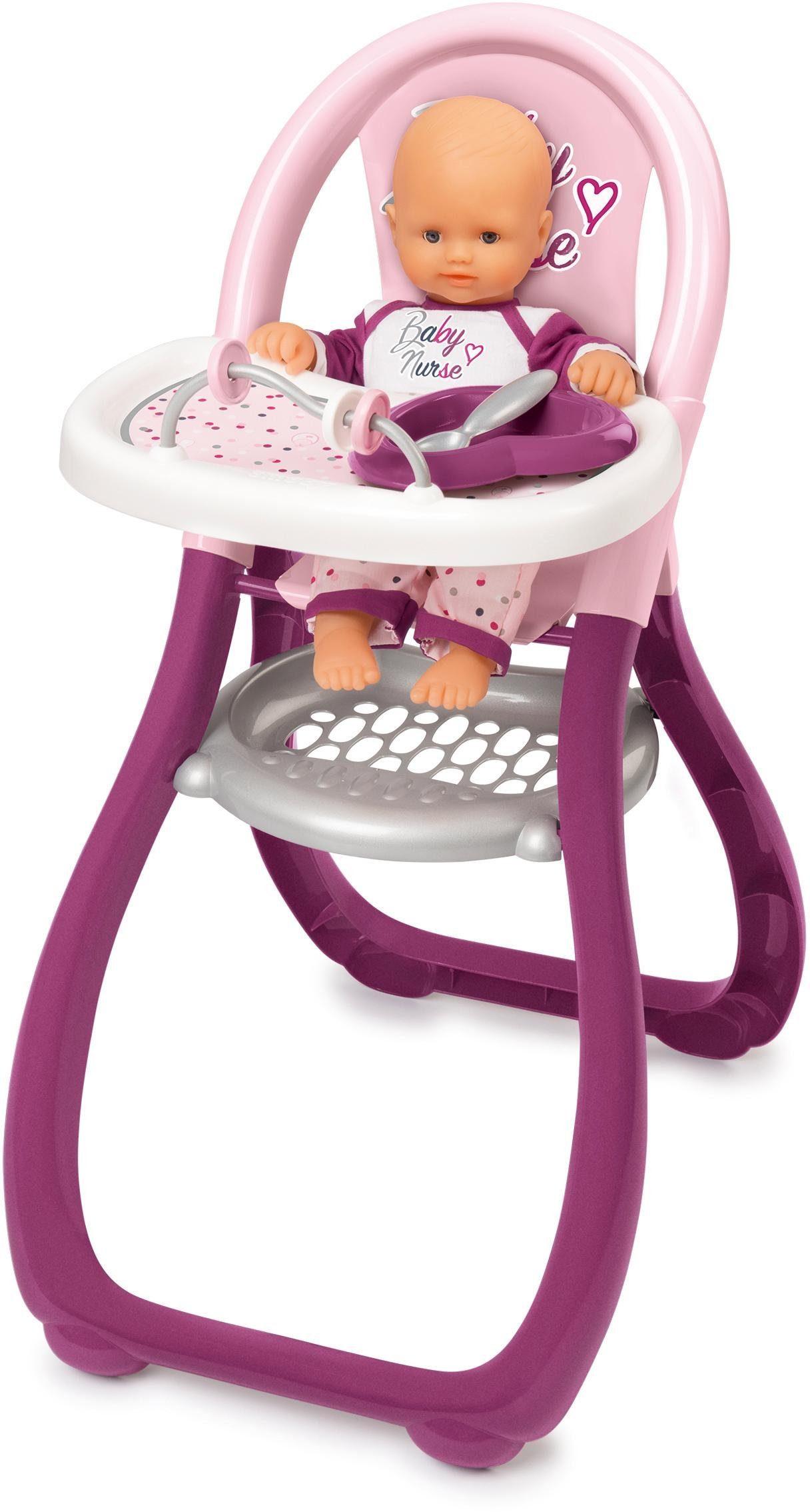 Smoby Puppenhochstuhl Baby Nurse Puppenhochstuhl, Made in Europe rosa Kinder Puppenzubehör Puppen
