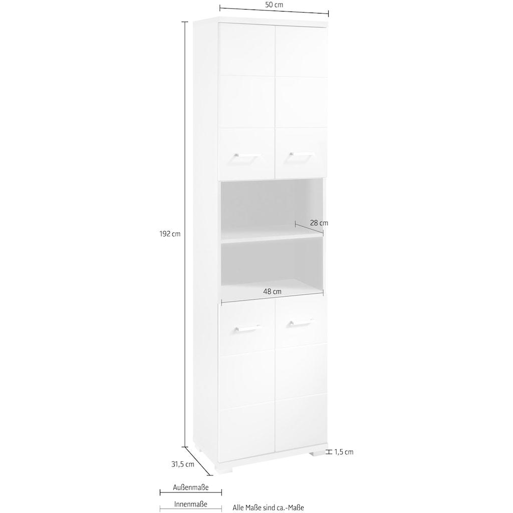 byLIVING Hochschrank »Nebraska«, Breite 50 cm, Badezimmerschrank mit Metallgriffen, viel Stauraum hinter den Türen und in 2 offenen Fächern, MDF-Front in Hochglanz-Optik