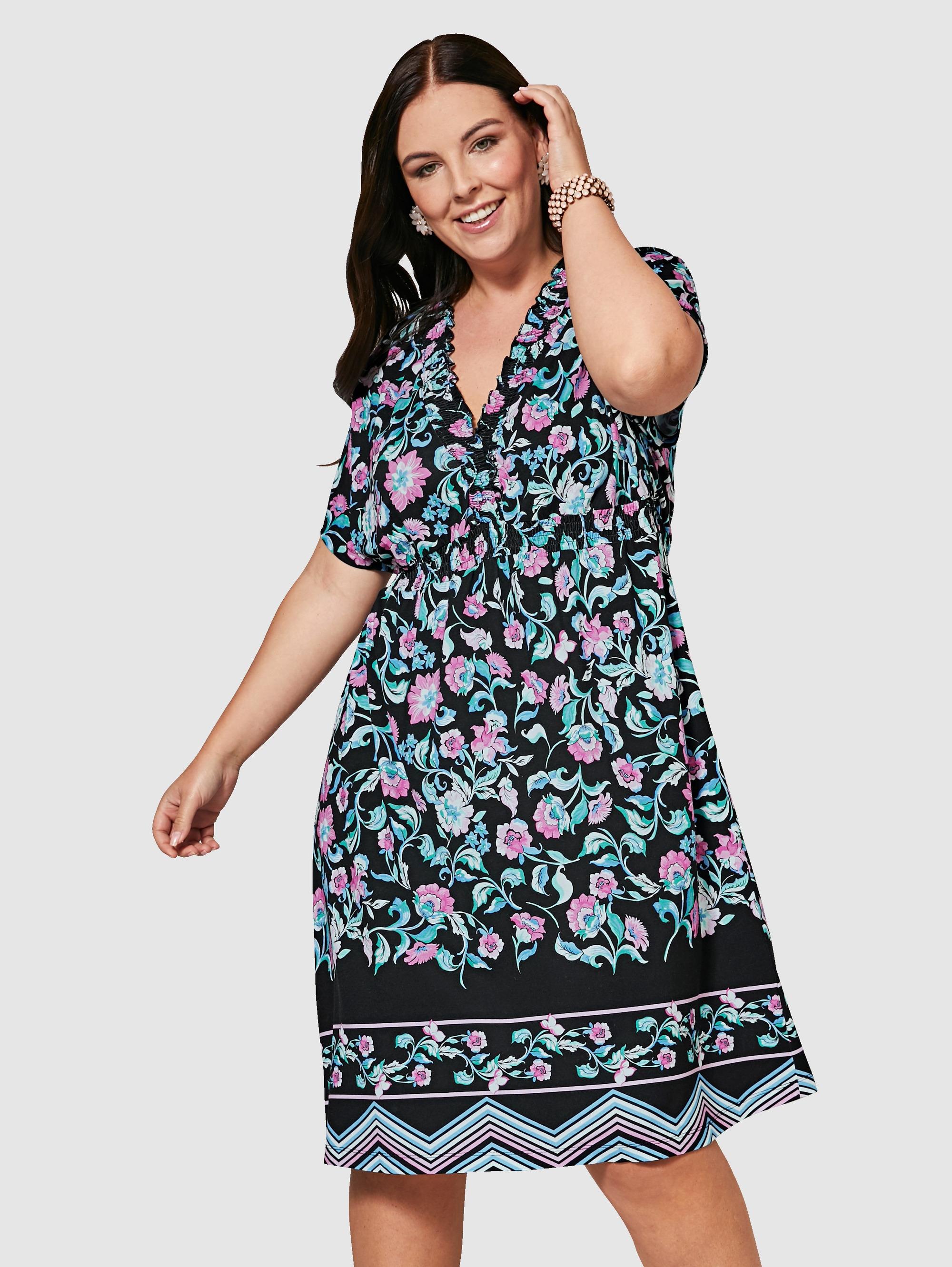 sara lindholm by happy size -  Jerseykleid mit Blumen-Print