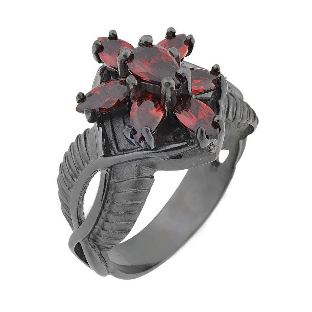 Der Herr der Ringe Fingerring »Dark Years Collection Arwens Abendstern - schwarz rot, 20002139«, Made in Germany - mit Zirkonia (synth.)