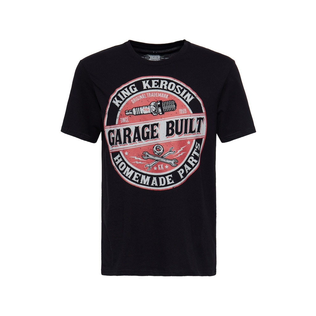 KingKerosin Print-Shirt »Garage Built«, mit Frontprint im Workerstyle
