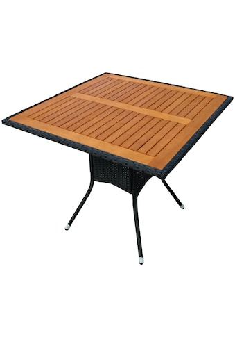 indoba Gartentisch »Valencia«, quadratisch - Polyrattan - schwarz - IND-70073-TI kaufen