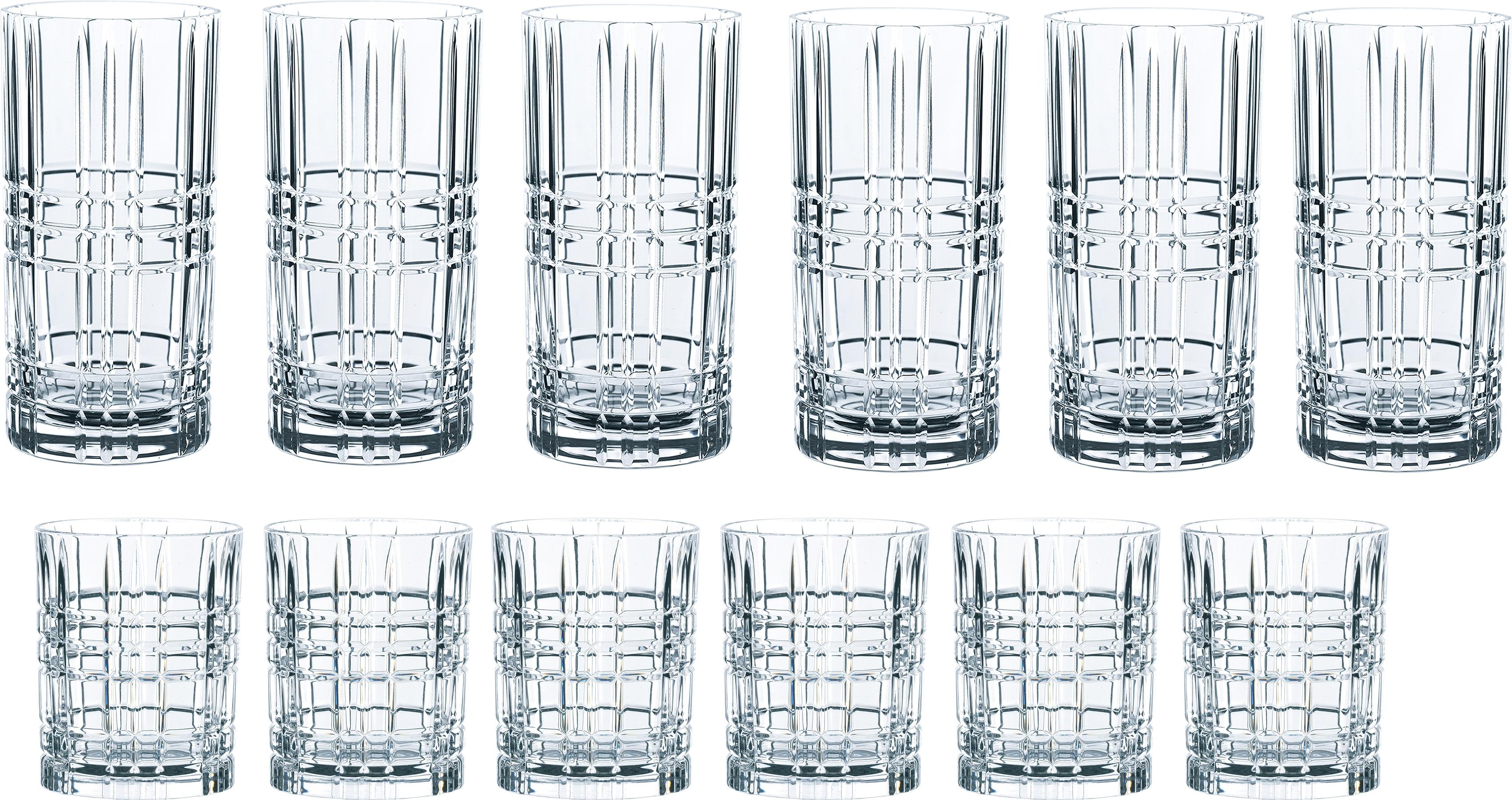 Nachtmann Gläser-Set Highland, (Set, 12 tlg.), mit markantem Schliff, 12-teilig farblos Kristallgläser Gläser Glaswaren Haushaltswaren
