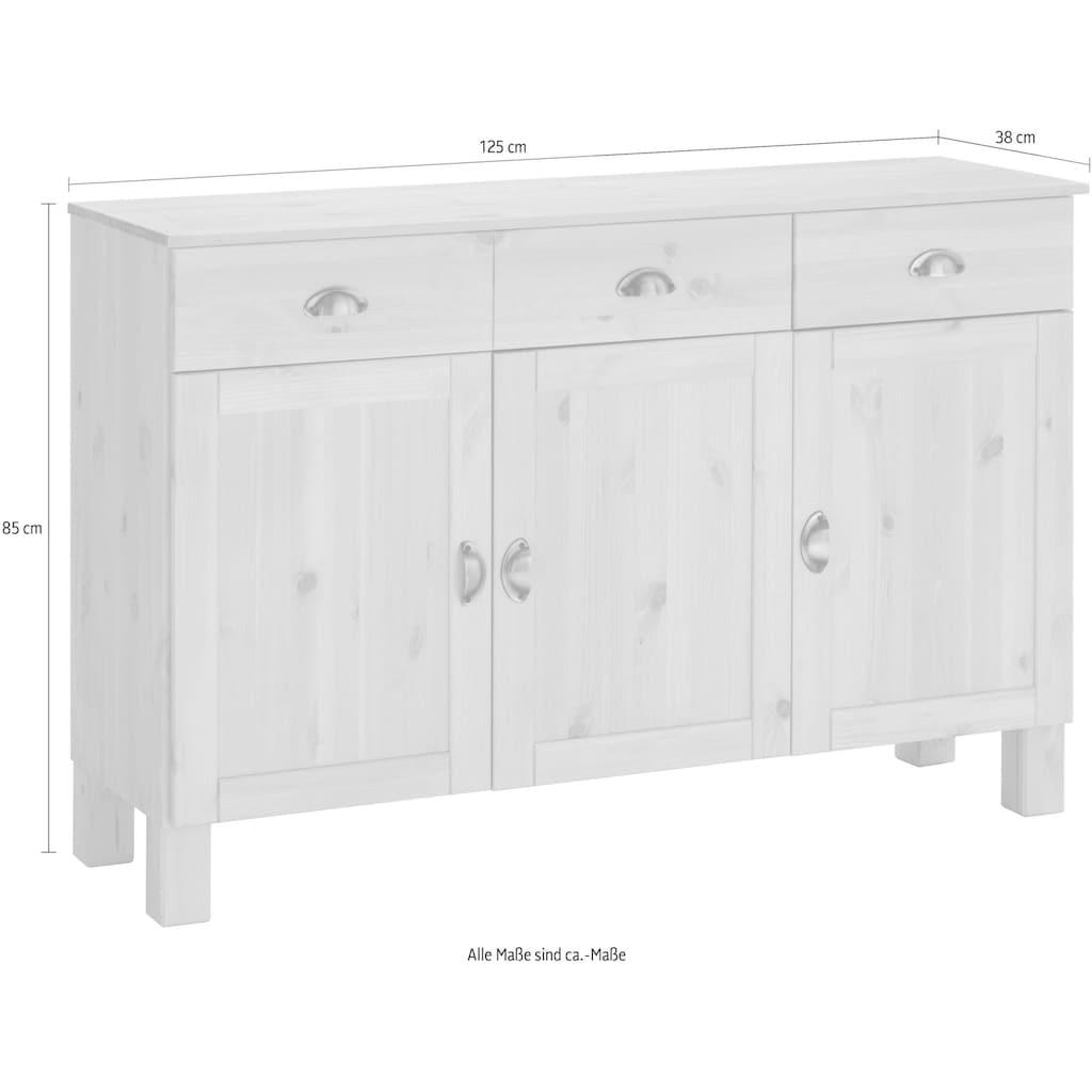 Home affaire Unterschrank »Oslo«, 125 cm breit, 38 cm tief, als Sideboard nutzbar, 3 Türen, 2 Schubkästen, aus massiver Kiefer, Metallgriffe, Landhaus-Optik