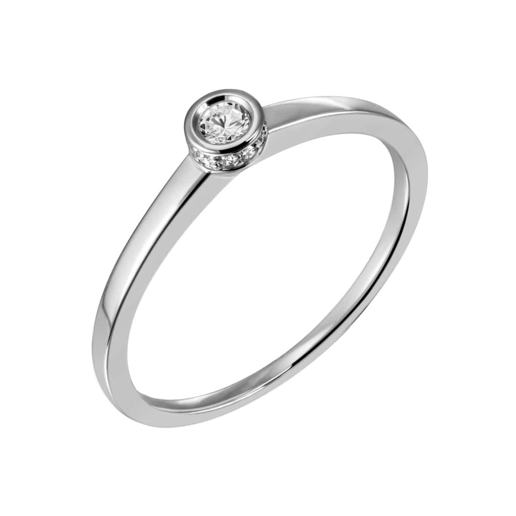 Firetti Diamantring »Solitär, ca. 1,43 mm breit, glänzend, rhodiniert, massiv«, mit Brillanten
