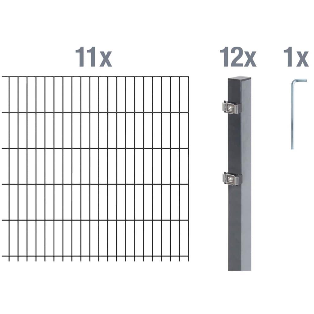 GAH Alberts Doppelstabmattenzaun, 140 cm hoch, 11 Matten für 22 m, 12 Pfosten