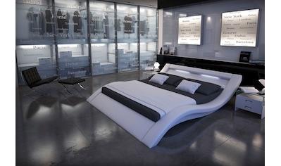 SalesFever Polsterbett, mit LED-Licht im Kopfteil, Lounge Bett in moderner Form, Design Bett in Kunstleder kaufen