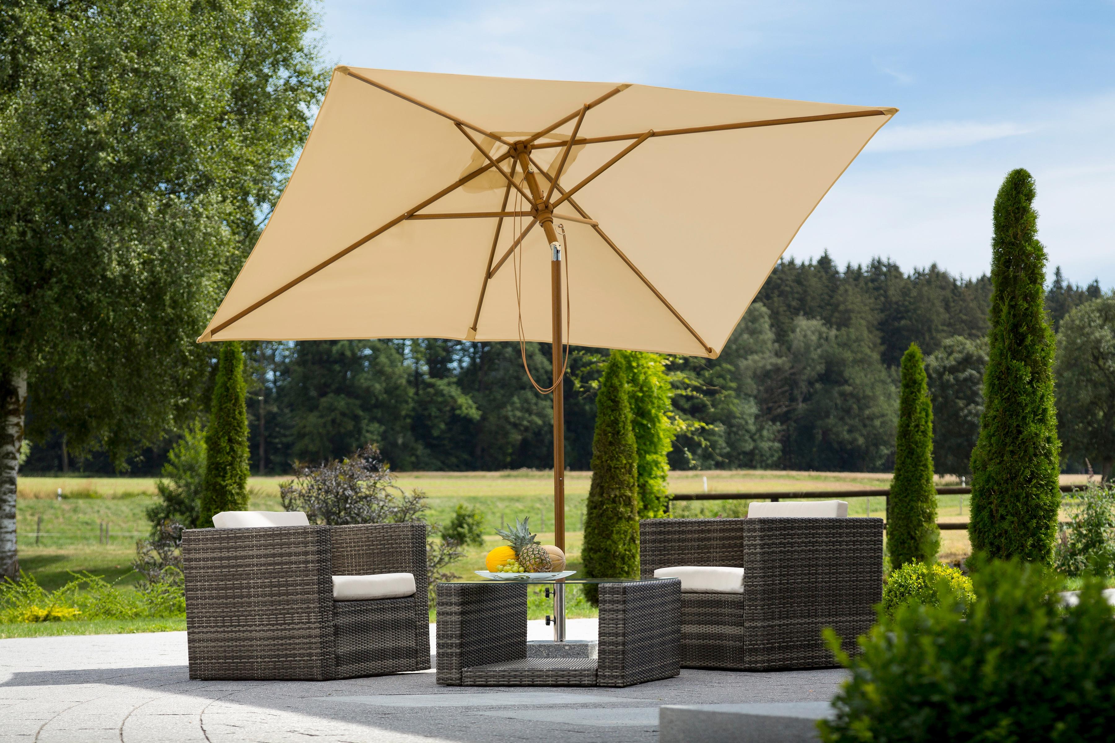 Schneider Schirme Sonnenschirm Malaga, abknickbar, ohne Schirmständer beige Sonnenschirme -segel Garten, Terrasse Balkon
