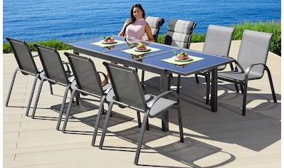 MERXX Gartenmöbelset »Amalfi«, 9 - tlg., 8 Stapelsessel, Tisch 100x180 - 240 cm, Alu/Textil kaufen