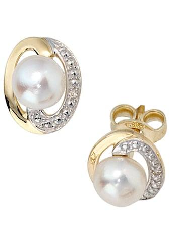 JOBO Perlenohrringe, 585 Gold mit 2 Diamanten und Süßwasser-Zuchtperlen kaufen