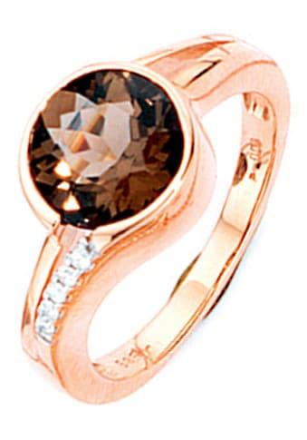 JOBO Diamantring, 585 Roségold mit Rauchquarz und 5 Diamanten kaufen
