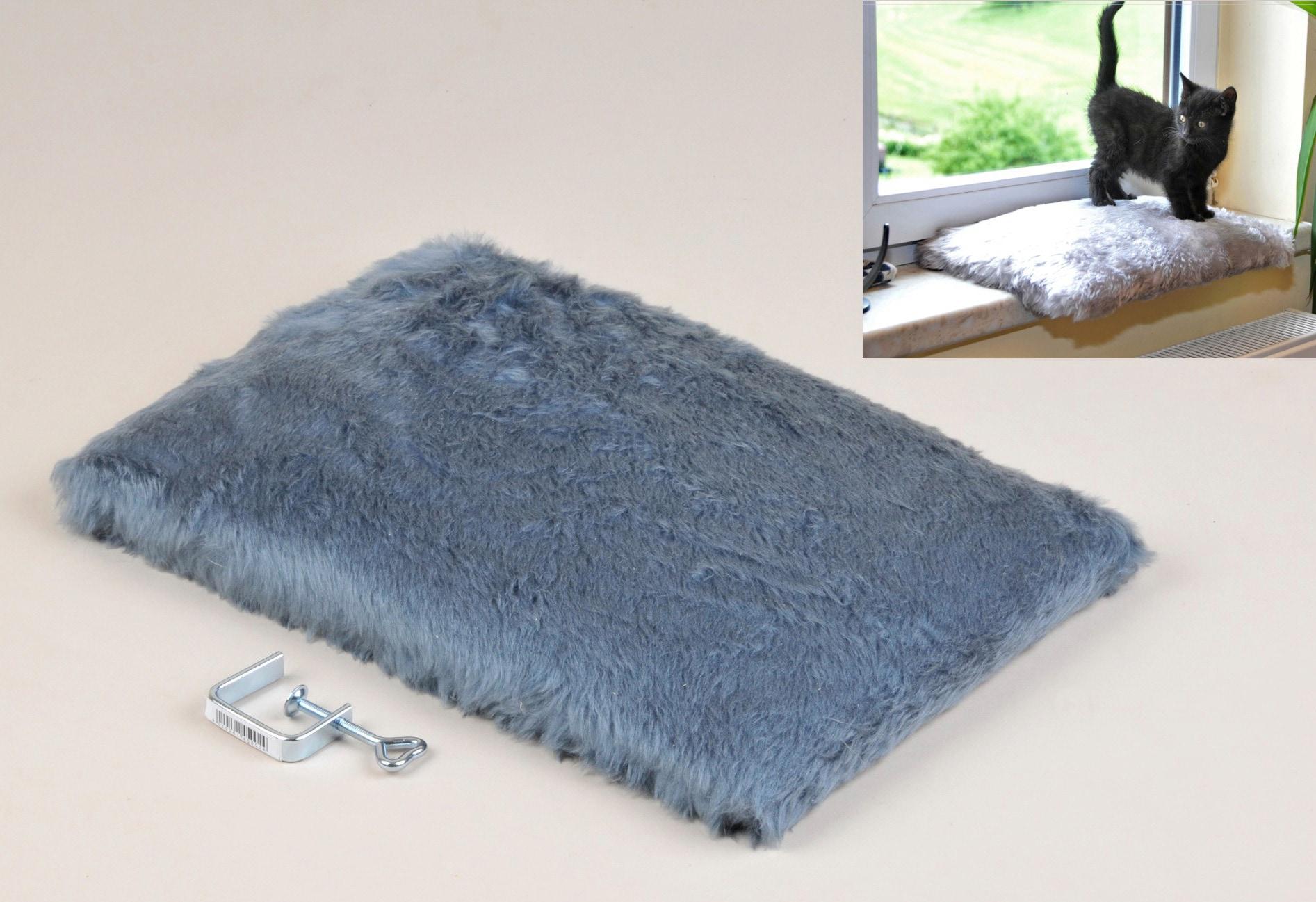 SILVIO design Katzenliege Fensterliege Relax blau Katzenkörbe -kissen Katze Tierbedarf