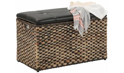 Home affaire Sitztruhe »Wittfield«, aus geflochtenem Rattan, mit einem cremefarbenen Stoffeinsatz im Innenfach, gepolsterte Sitzfläche aus Kunstleder, Breite 75 cm kaufen