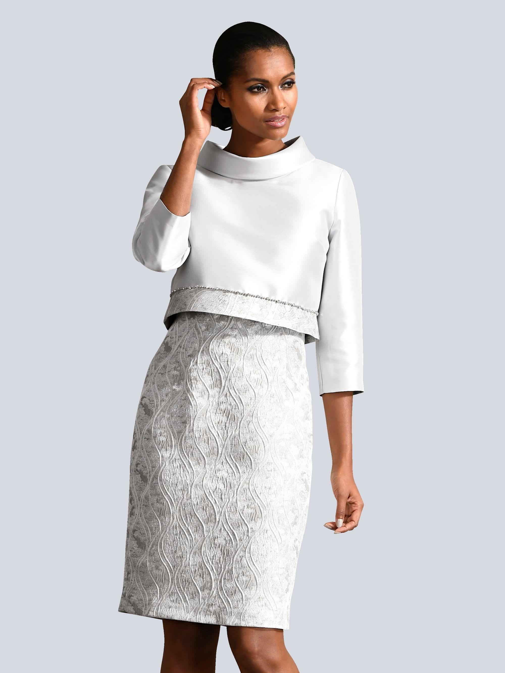 alba moda kleid und jacke in elegantem, floralem muster