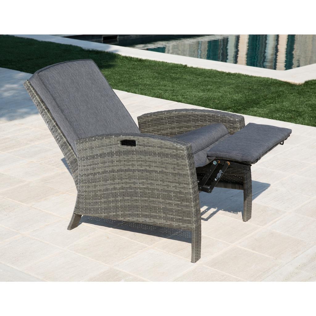 KONIFERA Relaxsessel »Relaxsessel«, Polyrattan, verstellbar, inkl. Auflagen