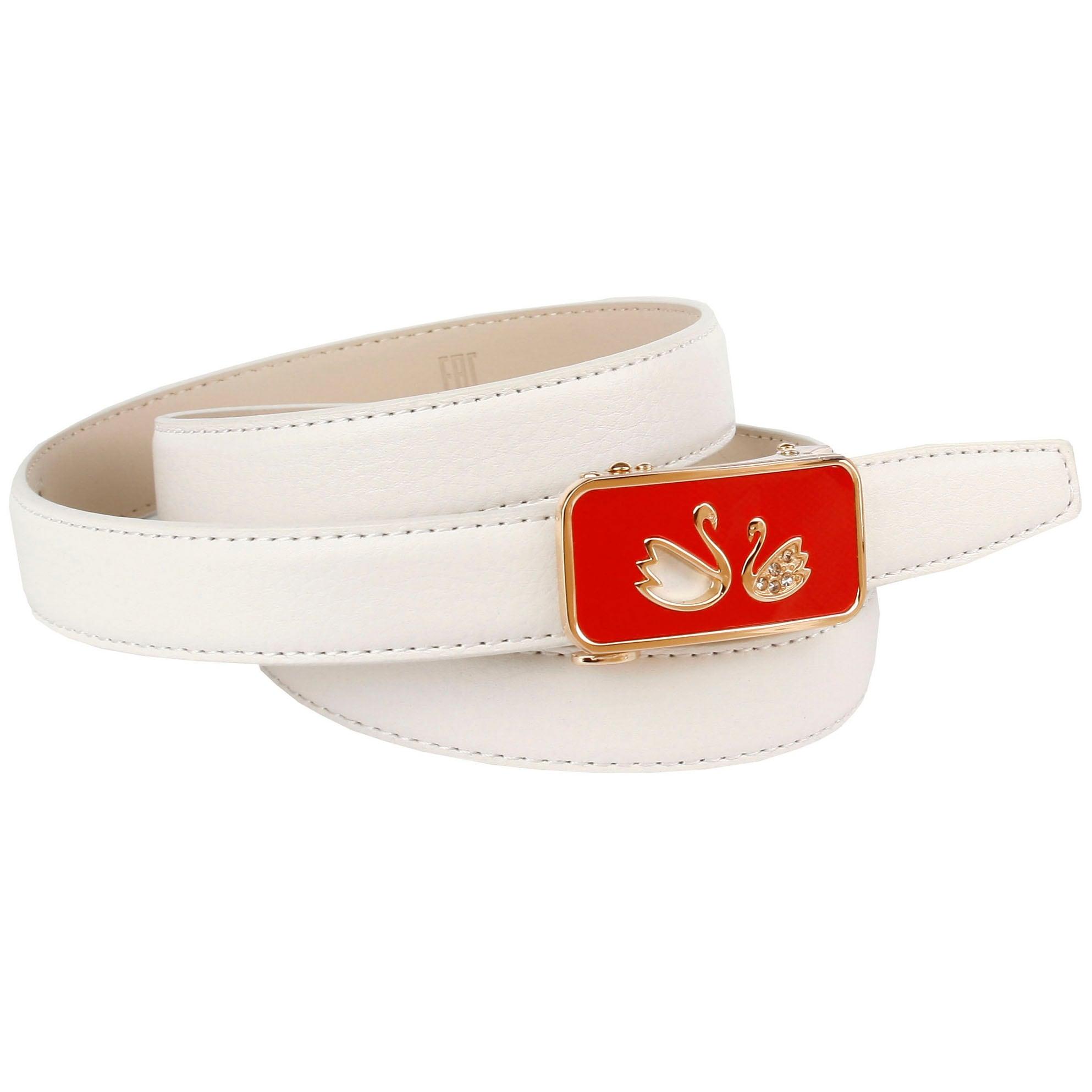 Anthoni Crown Ledergürtel, mit roter Schließe weiß Damen Ledergürtel Gürtel Accessoires