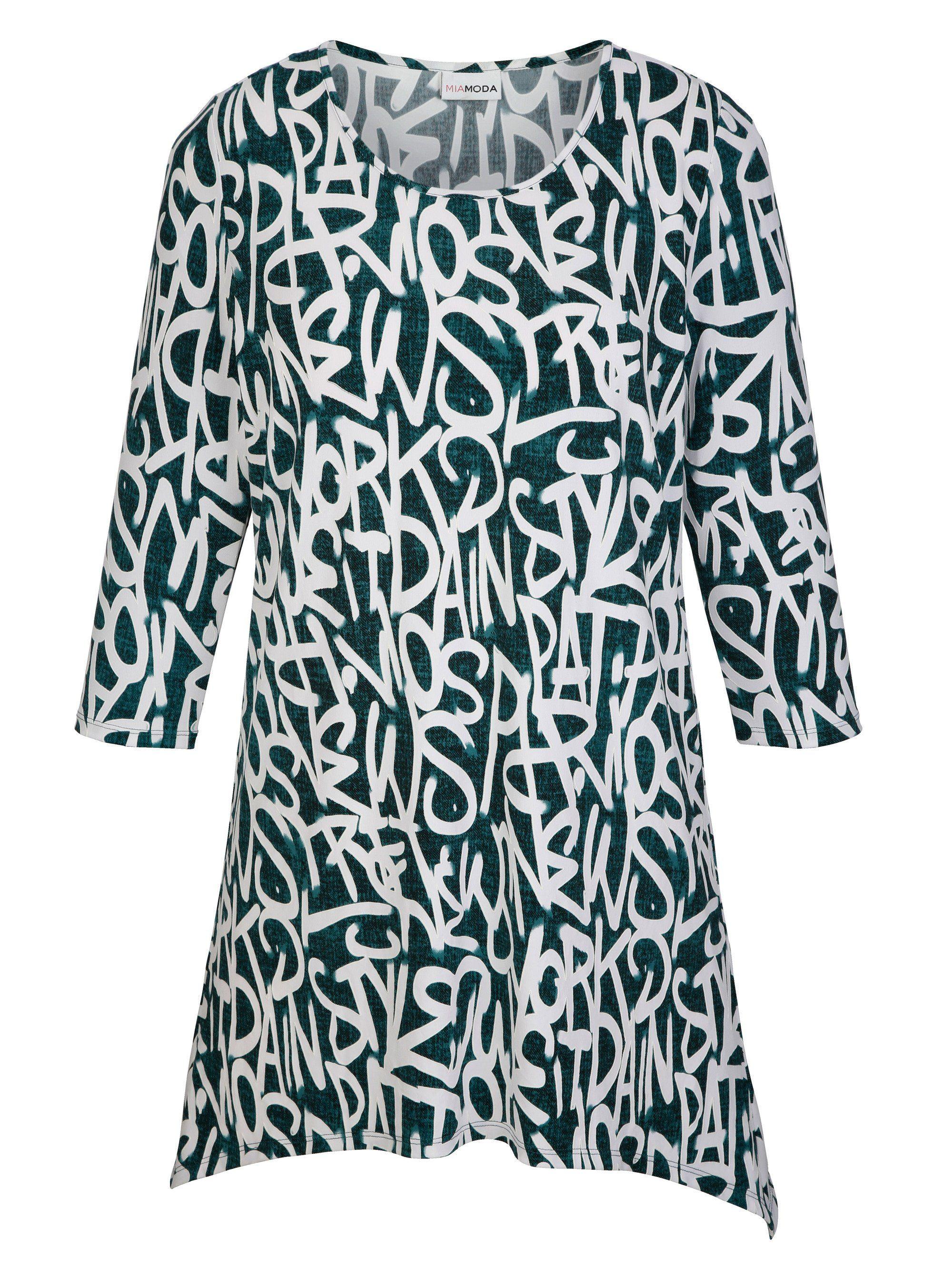 MIAMODA Zipfelshirt mit strukturiertem Druckmuster | Bekleidung > Shirts > Zipfelshirts | Grün | Polyester | Miamoda