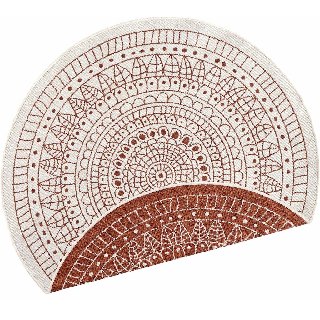 bougari Teppich »Porto«, rund, 5 mm Höhe, In- und Outdoor geeignet, Wendeteppich, Wohnzimmer