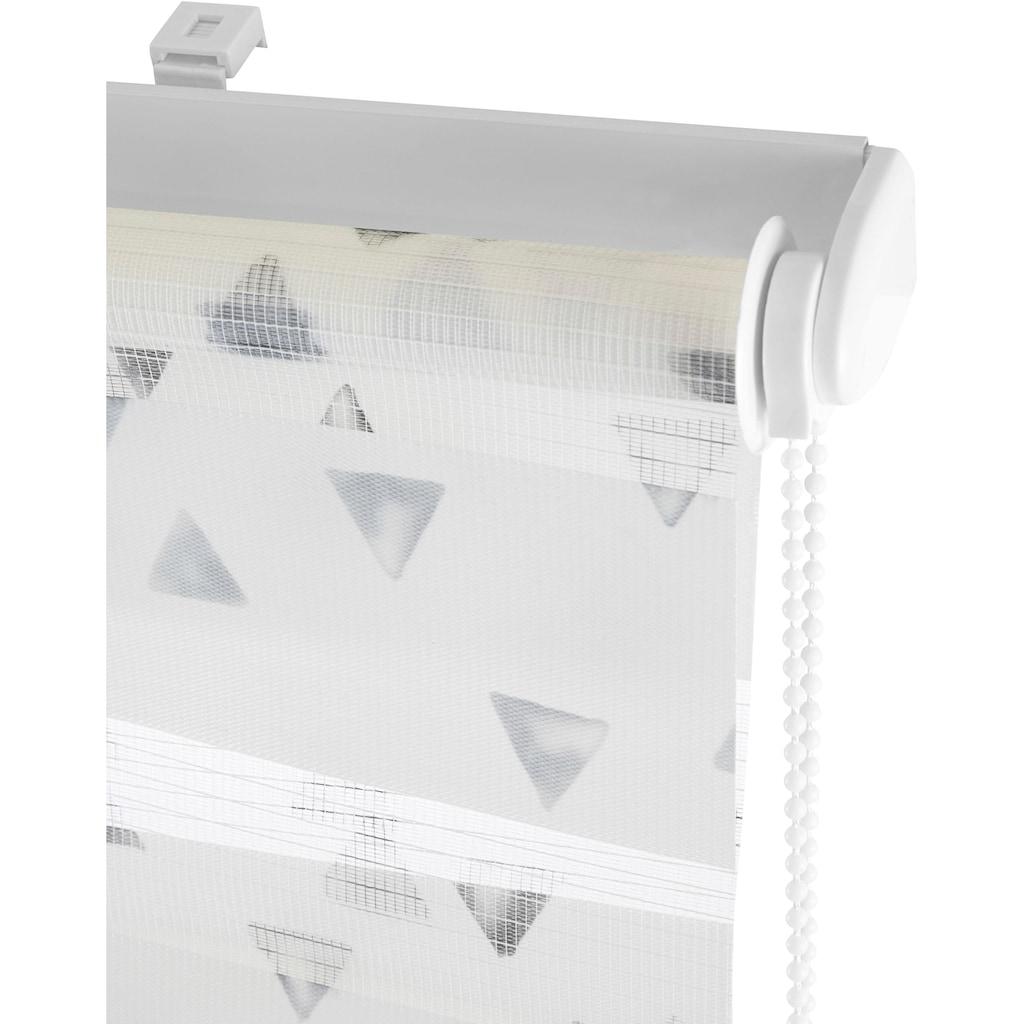 my home Doppelrollo »Dreiecke«, Lichtschutz, ohne Bohren, freihängend, im Fixmaß