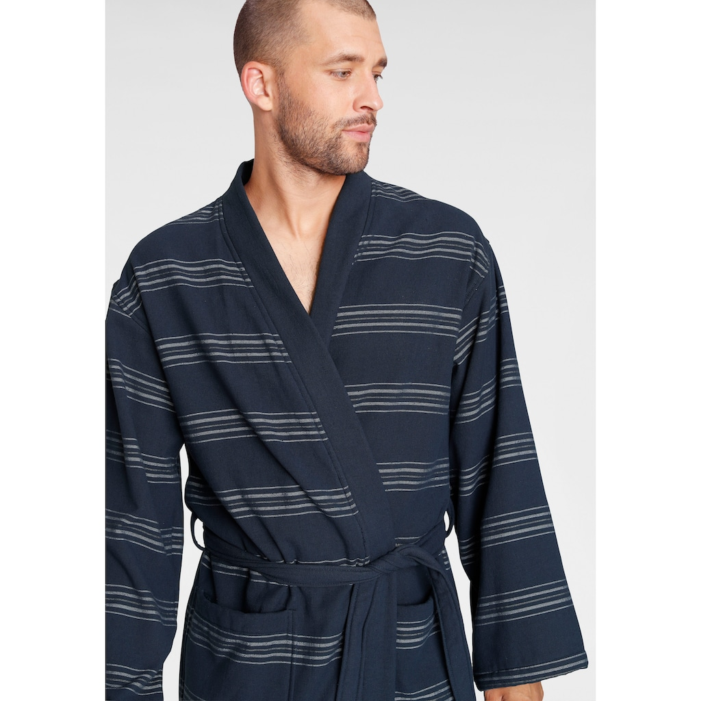 TOM TAILOR Unisex-Bademantel »Wellness Kimono«, mit Streifen