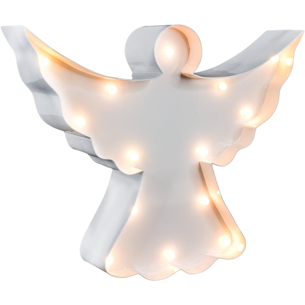 MARQUEE LIGHTS LED Dekolicht »Engel«, 1 St., Warmweiß, Wandlampe, Tischlampe Angel mit 14 festverbauten LEDs - 23cm Breit und 19cm hoch