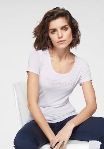 Tamaris Rundhalsshirt, mit Glitzer Logo kaufen
