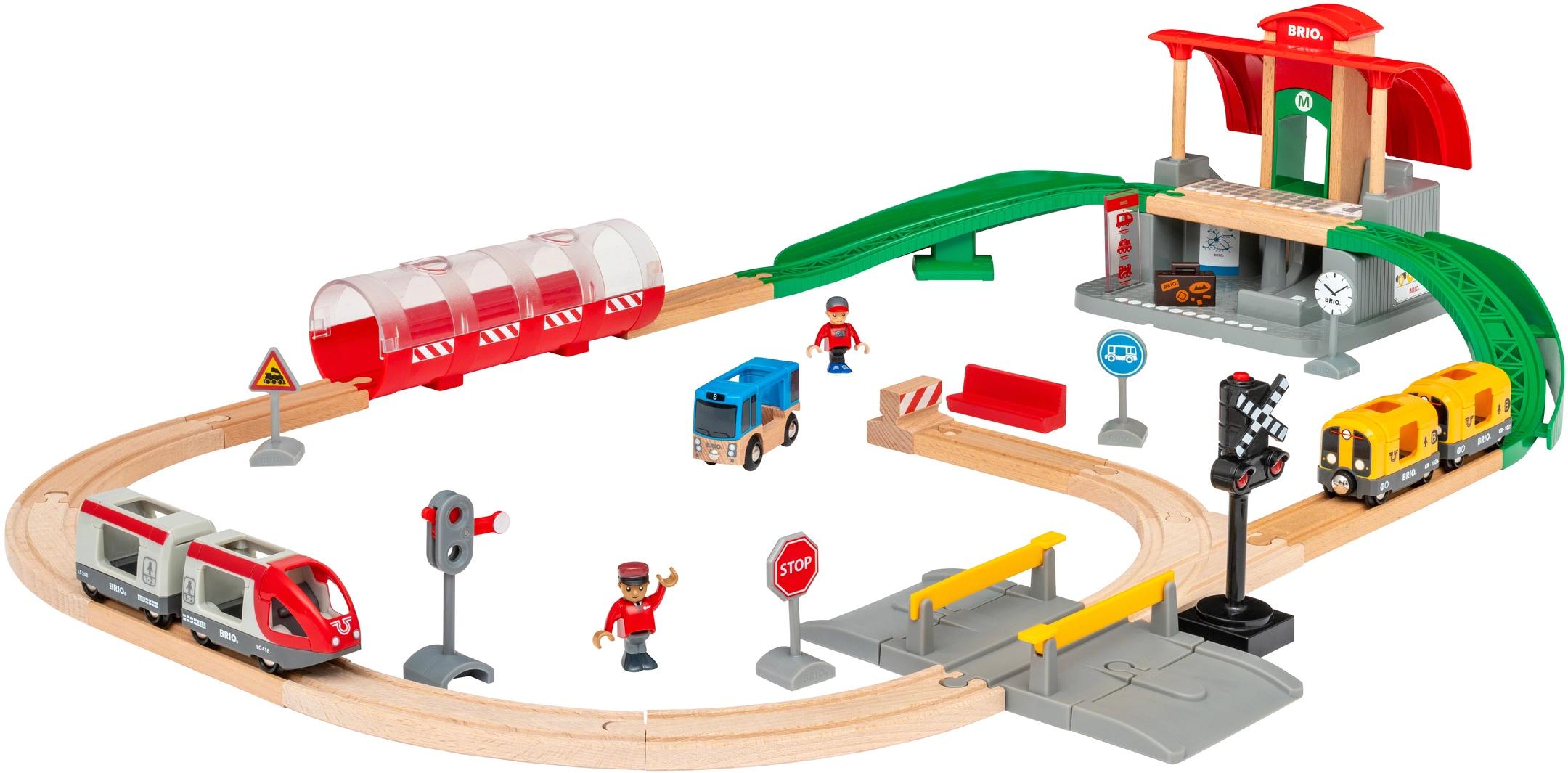 BRIO Spielzeug-Eisenbahn Großes City Bahnhof Set, mit Soundeffekten bunt Kinder Kindereisenbahnen Autos, Eisenbahn Modellbau