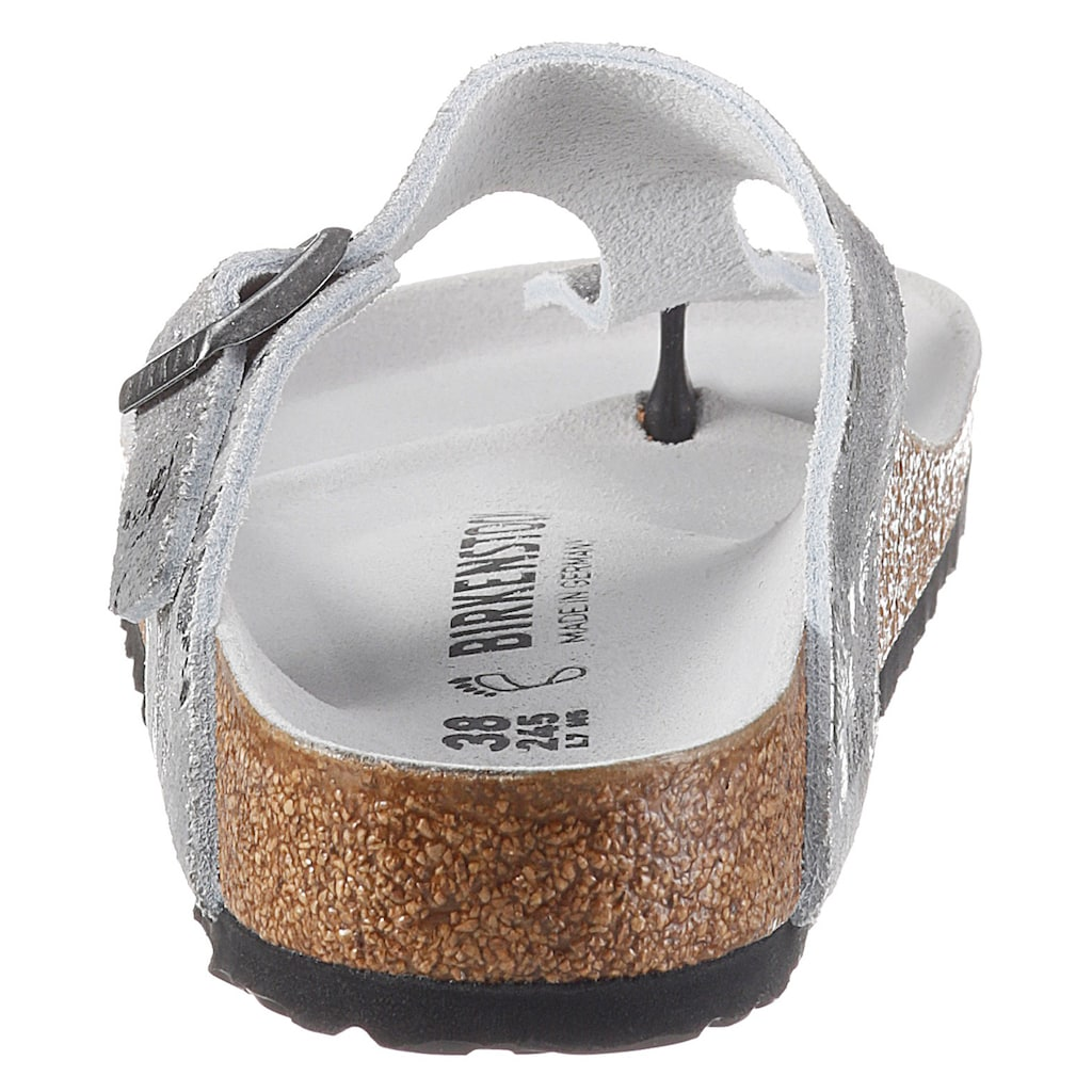 Birkenstock Zehentrenner »GIZEH VINTAGE«, im Metallic-Look, aus Veloursleder