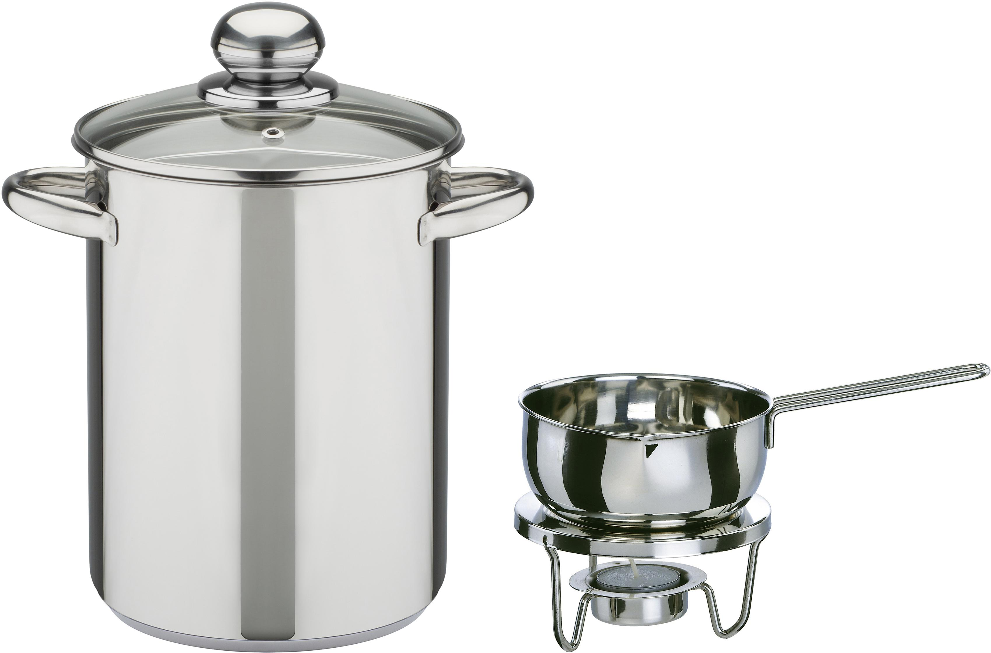 GSW Spargeltopf, Edelstahl, (Set, 4 tlg.), inkl. Saucenwärmer, Stövchen, Teelicht silberfarben Spargeltopf Töpfe