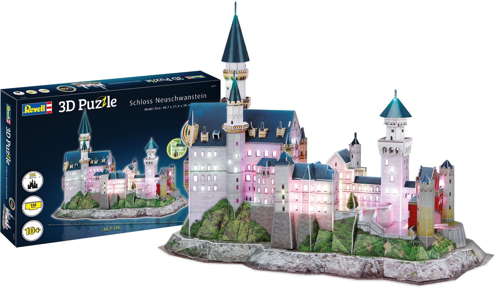 Revell 3D-Puzzle Schloss Neuschwanstein, LED-Edition weiß Kinder 3D Puzzle Gesellschaftsspiele