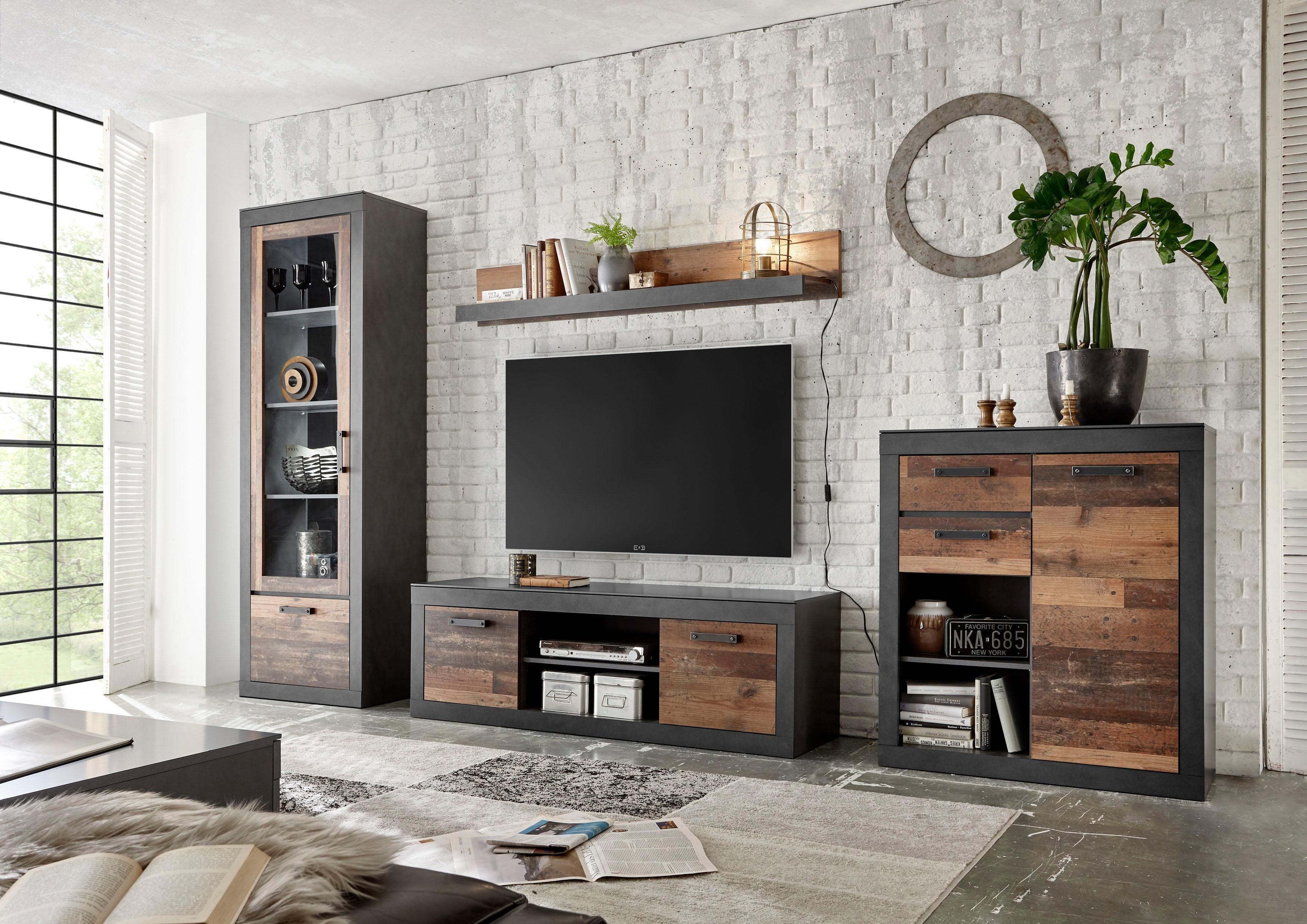 Home affaire Wohnwand BROOKLYN, (4 tlg.), in dekorativer Rahmenoptik günstig online kaufen