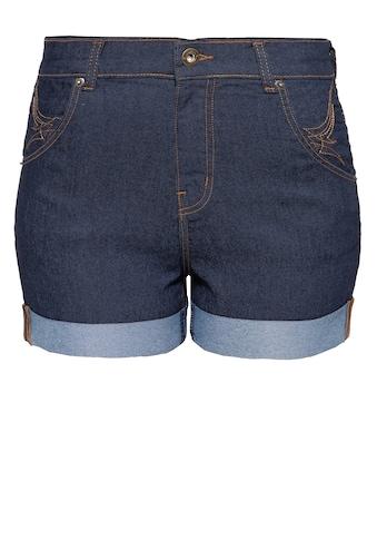 QueenKerosin Jeansshorts, mit Saumaufschlag und besticken Gesäßtaschen kaufen