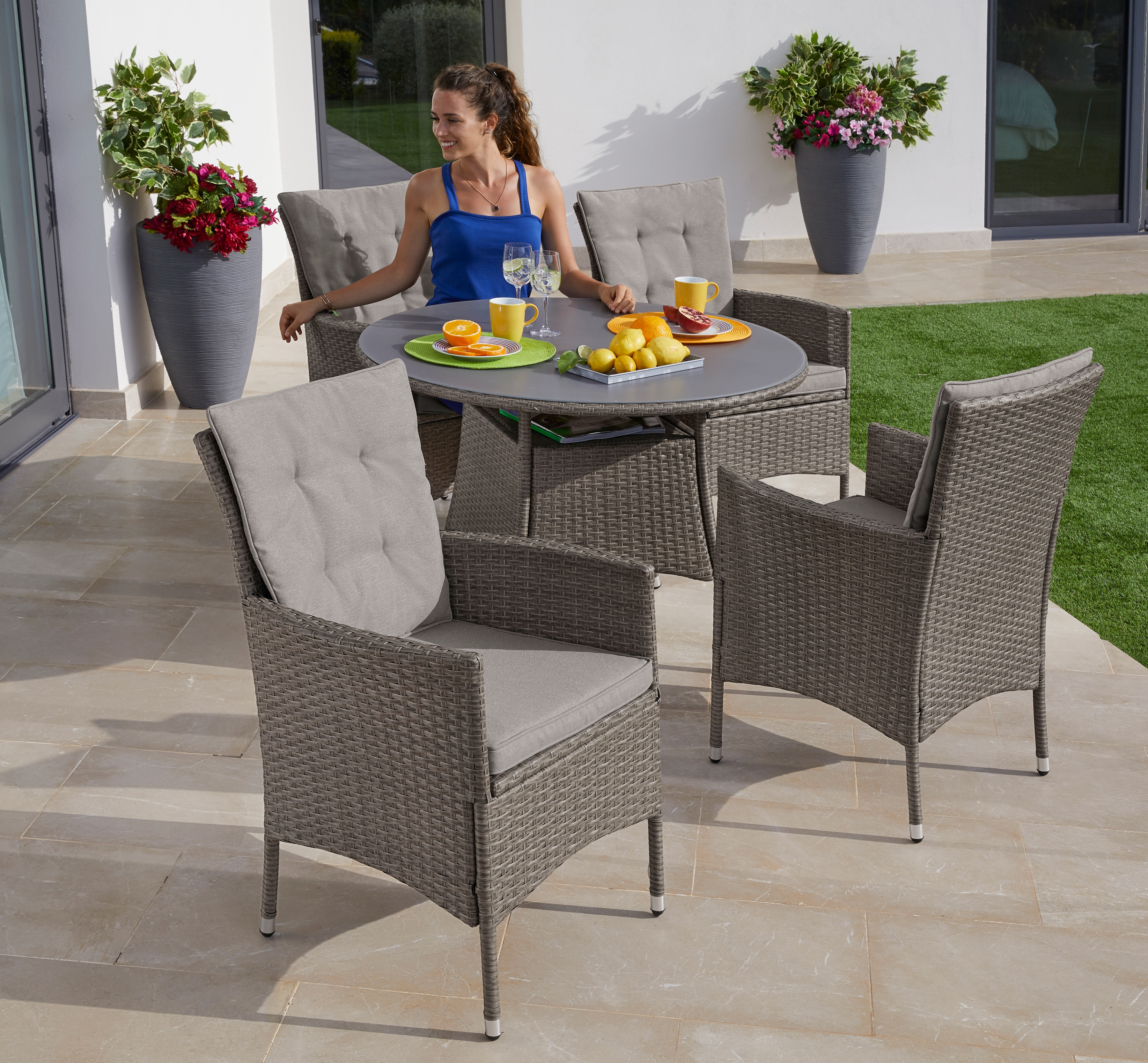 KONIFERA Gartenmöbelset Mailand 13-tlg 4 Sessel Tisch Ø 100 cm Polyrattan