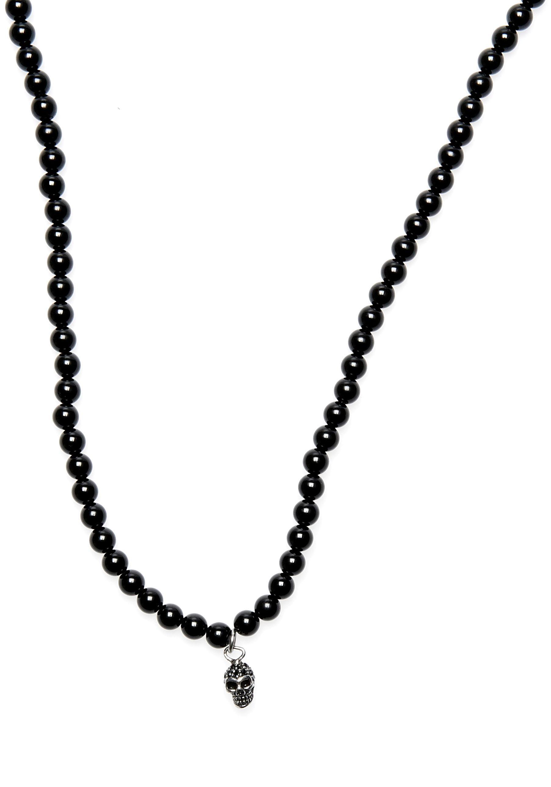 ROYAL EGO Kette mit Anhänger Skull Lava Beads silver jet 1712 | Schmuck > Halsketten | Schwarz | Royal Ego