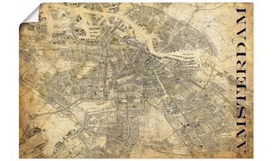 Artland Wandbild »Amsterdam Karte Straßen Karte Sepia«, Niederlande, (1 St.), in vielen Größen & Produktarten - Alubild / Outdoorbild für den Außenbereich, Leinwandbild, Poster, Wandaufkleber / Wandtattoo auch für Badezimmer geeignet kaufen