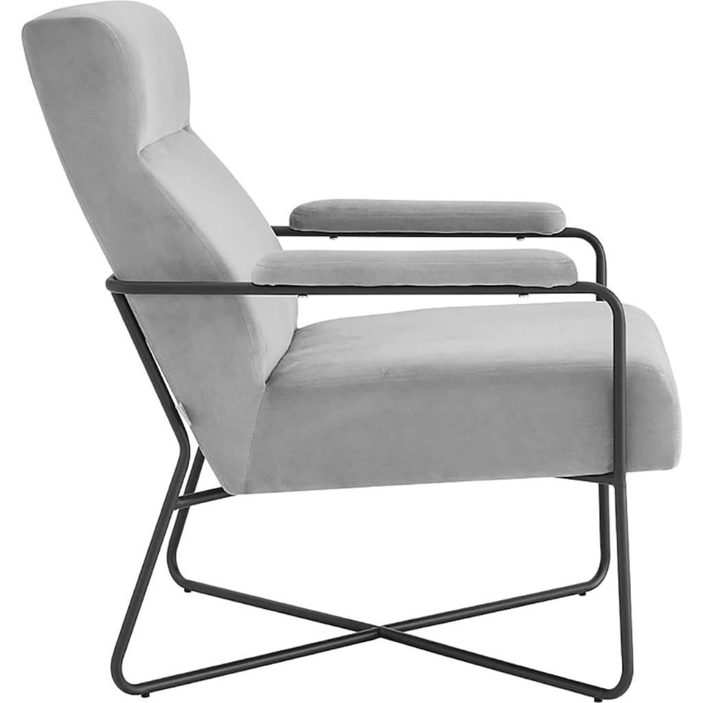 andas Sessel »Loki«, mit einem Metallgestell und pflegeleichten, weichen Samtvelours Bezug, in zwei verschiedenen Farbvarianten, Sitzhöhe 44 cm