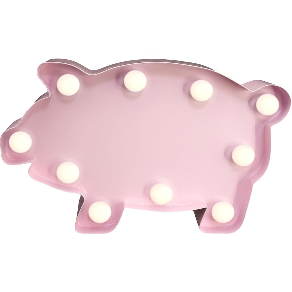 MARQUEE LIGHTS LED Dekolicht »Schwein Schweinchen«, 1 St., Warmweiß, Wandlampe, Tischlampe Pig mit 10 festverbauten LEDs - 23cm Breit und 14cm hoch