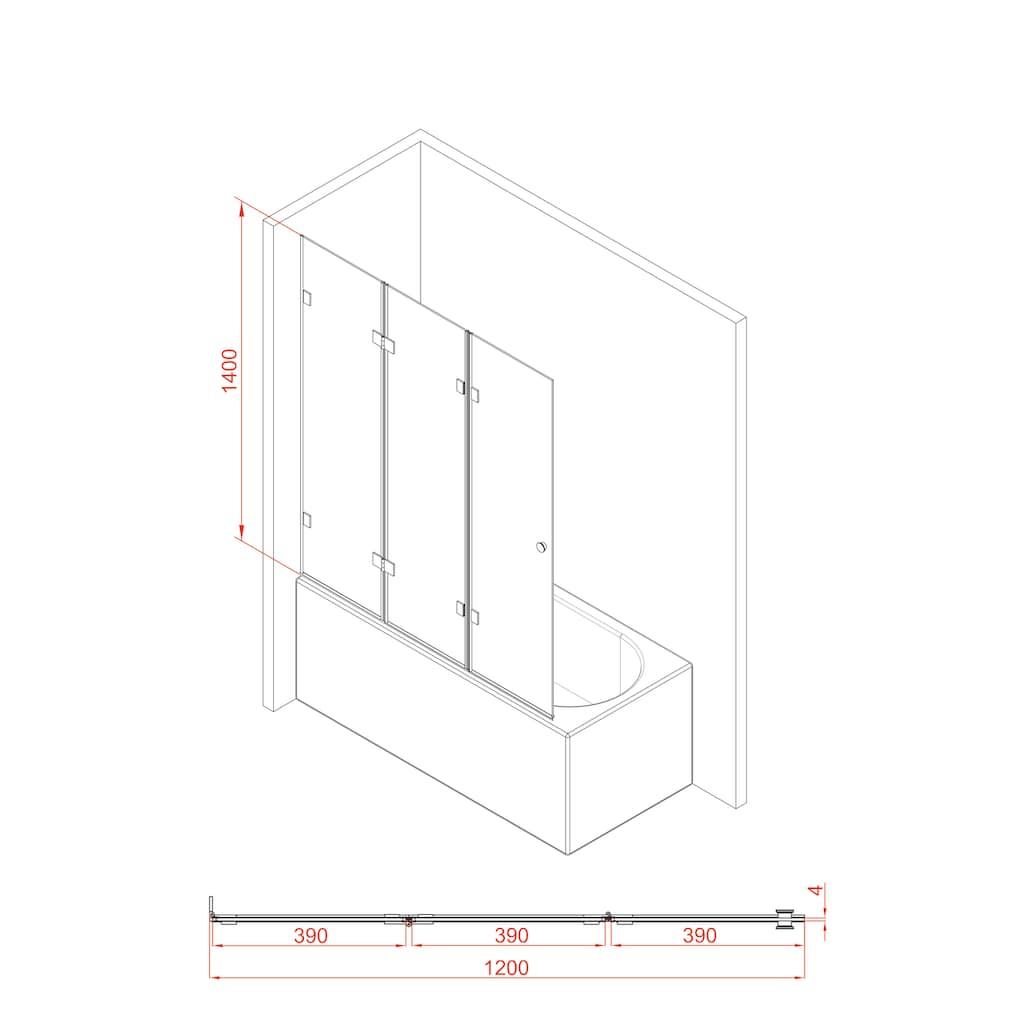 Marwell Badewannenfaltwand »GALLERY«, Breite: 120 cm