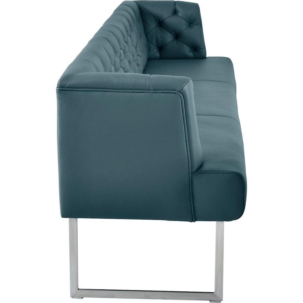 K+W Komfort & Wohnen Polsterbank »Creso«, im modernen Chesterfield-Look, Füße in Edelstahl-Optik