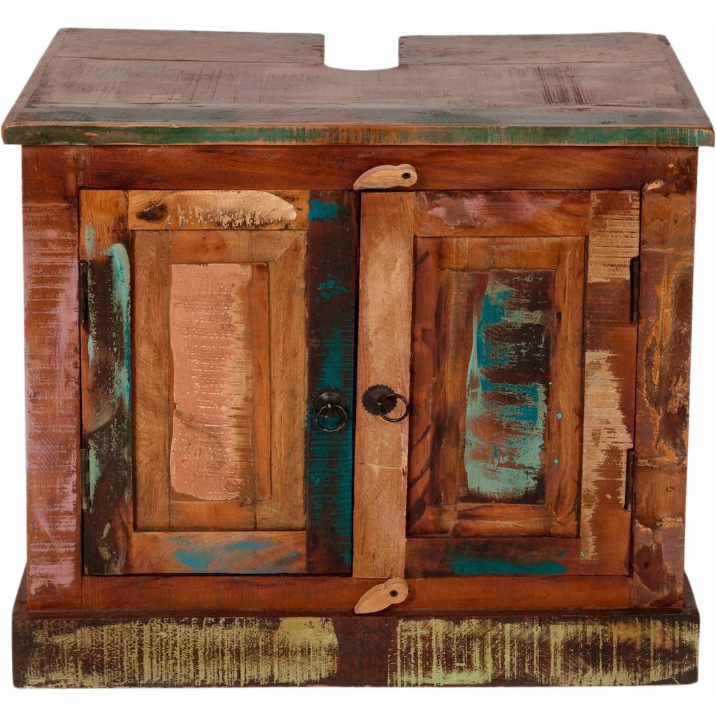 SIT Waschbeckenunterschrank »Riverboat«, aus recyceltem Altholz, Shabby Chic, Vintage