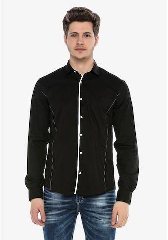 Cipo & Baxx Langarmhemd, mit Kontrast-Saum und Knopfleiste kaufen