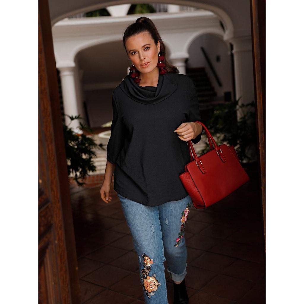 Sara Lindholm by Happy Size Slim Fit Jeans knöchellang mit Pailletten-Applikation