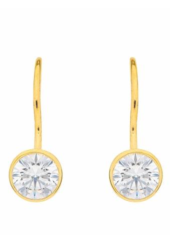 Adelia´s Paar Ohrhänger »333 Gold Boutons mit Zirkonia Ø 6,1 mm«, Goldschmuck für Damen kaufen