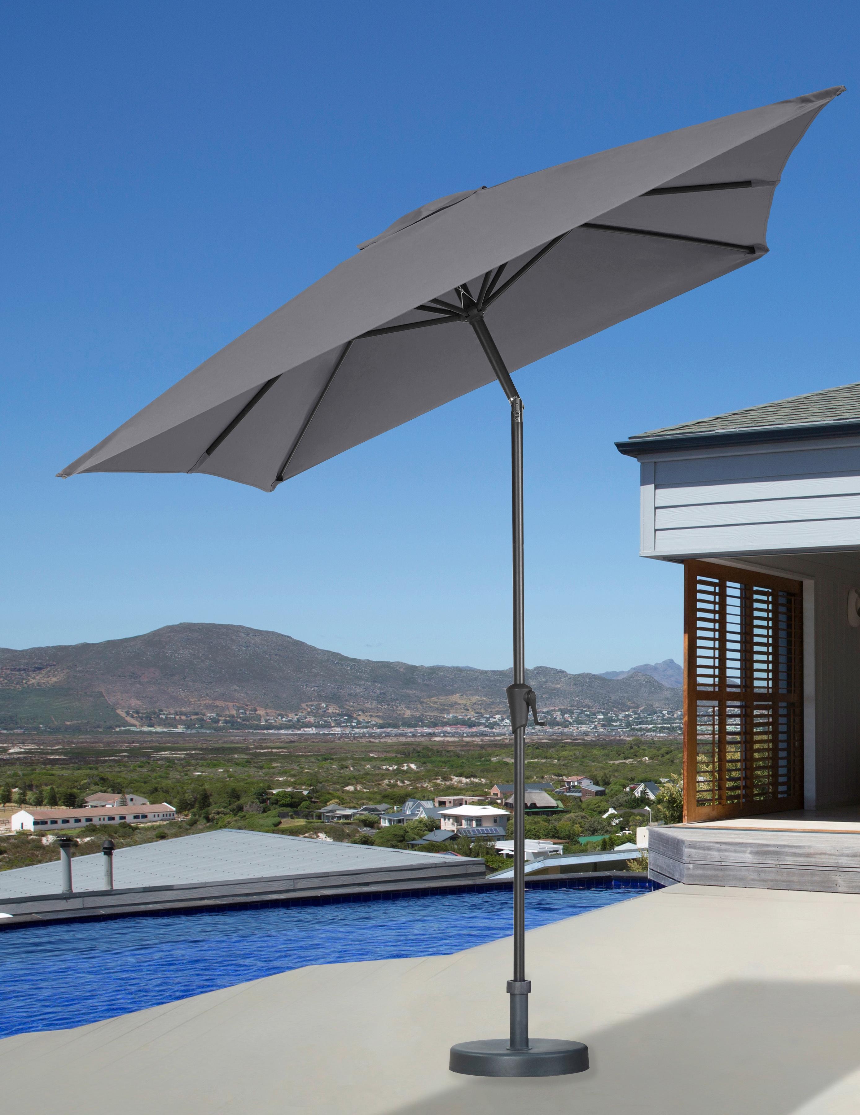 garten gut Sonnenschirm, abknickbar, ohne Schirmständer grau Sonnenschirm Sonnenschirme -segel Gartenmöbel Gartendeko