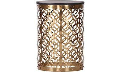 Leonique Beistelltisch »Menton«, mit kunstvollem Metallgestell in gold und dunkler Massivholzplatte kaufen