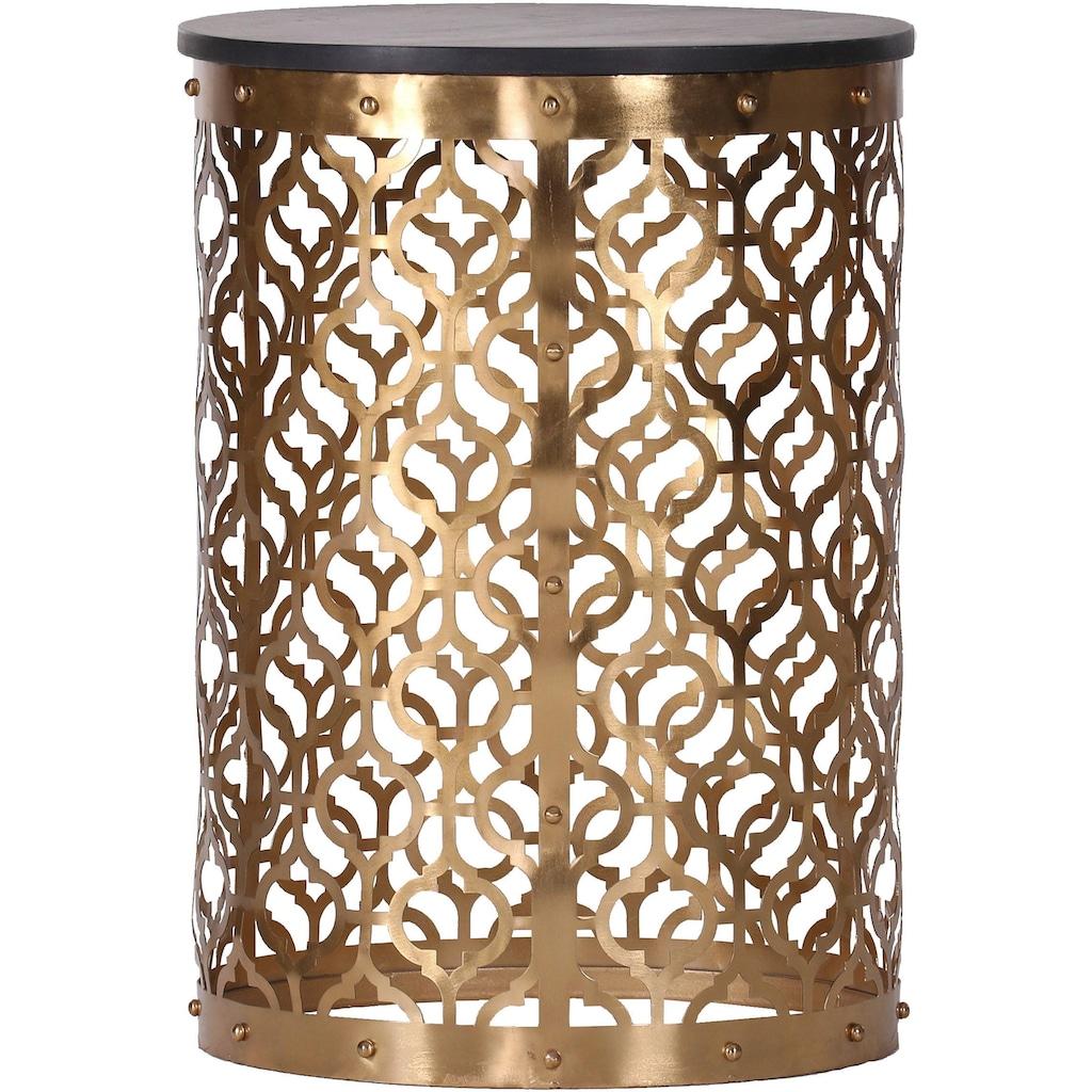 Leonique Beistelltisch »Menton«, mit kunstvollem Metallgestell in gold und dunkler Massivholzplatte