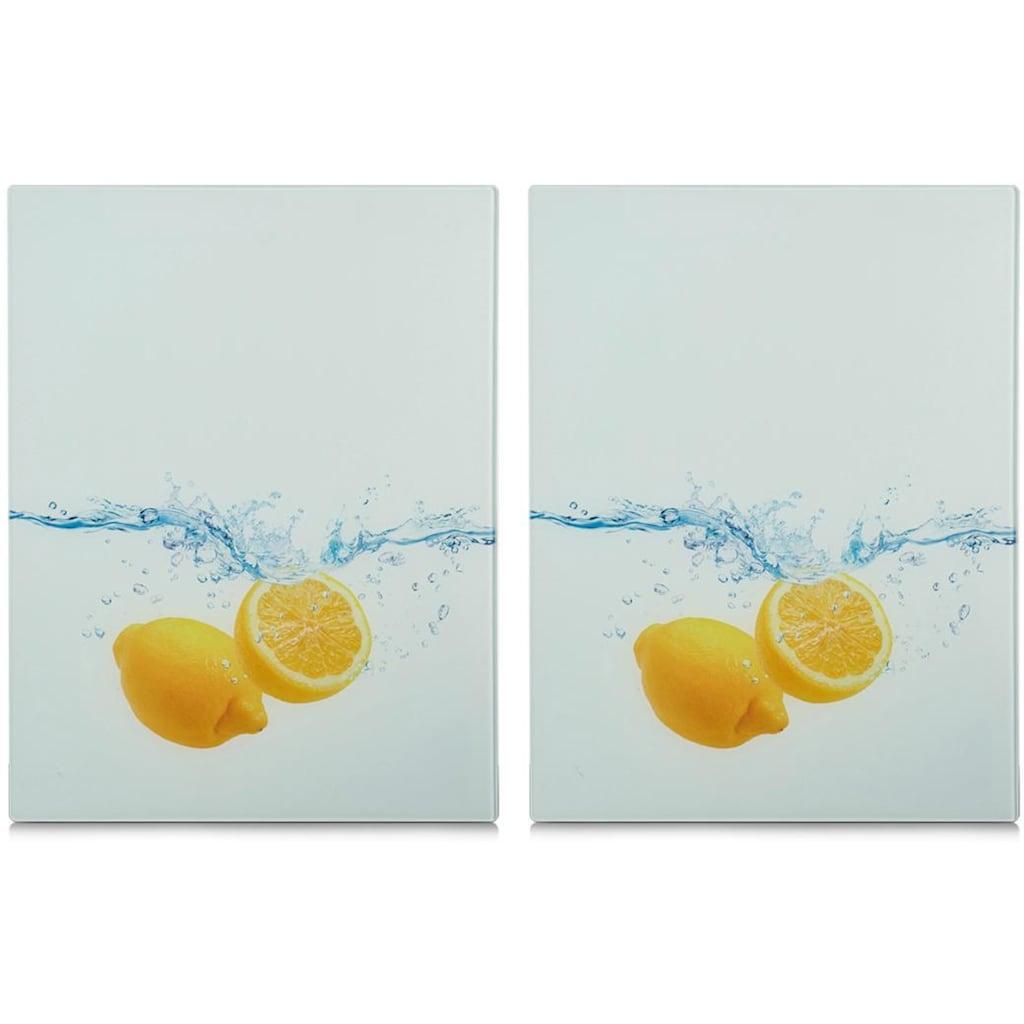 Zeller Present Schneide- und Abdeckplatte »Lemon Splash«, (Set, 2 tlg.), aus ESG-Sicherheitsglas hergestellt